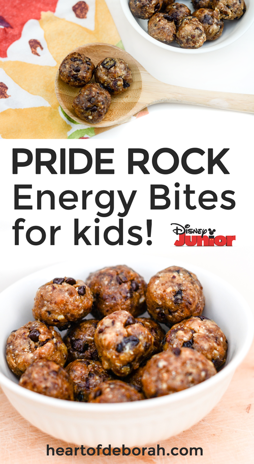 Delicious energy bite recipe for kids. Encourage healthy eating and have a blast with these Disney Junior snack ideas! Your kids will love joining the Lion Guard characters while eating their power bites (Pride Rock balls).