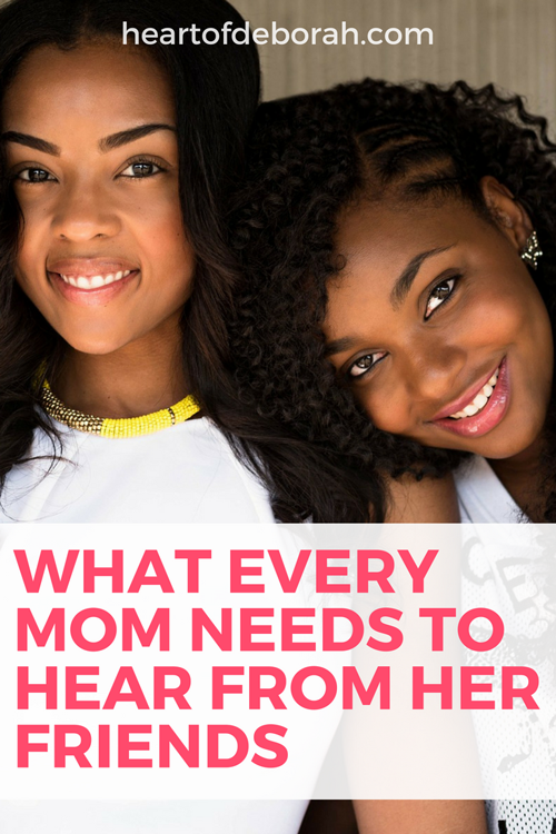 So what's the one thing every mom needs to hear from her friends? You are doing a great job! We need to support each other as moms because raising children is not easy! Let's stop judging and start supporting each other. #momlife #goodmoms #christianmoms #parenting #motherhood