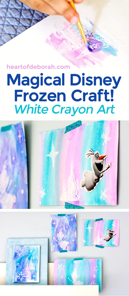 We LOVE Frozen and with Olaf's Frozen Adventure coming out we wanted to create a magical Frozen craft. Here is a fun white crayon watercolor craft for kids! We used the white crayon resist technique and watercolor paint to create this fun kid's activity.