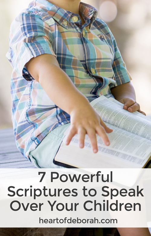 One of our greatest tools as parents is committing our kids to the Lord. Here are 7 powerful scriptures to speak over your children every day of the week. Included is a free printable to hang on your fridge.