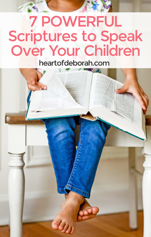 As a parent you can speak blessings over your kids! Do this with 7 powerful scriptures to speak over your children every day of the week. Included is a free printable with scriptures to hang on your fridge.