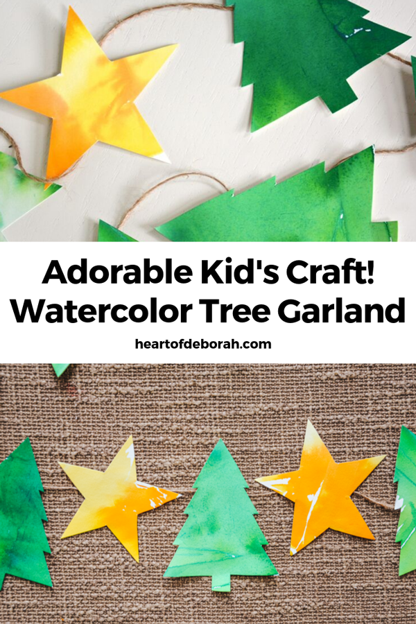 A fun craft to get into the holiday spirit. Make this watercolor Christmas tree garland with your preschooler.