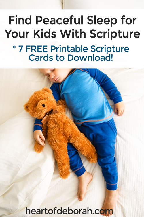 Does your child fight sleep because of bad dreams or nightmares? Here are 7 effective scriptures to overcome bad dreams. Find peaceful sleep with kids by praying these bible verses together! Plus free printable scripture cards for kids!