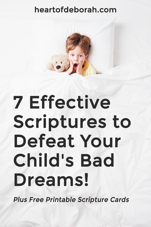Does your child fight sleep because of bad dreams or nightmares? Here are 7 effective scriptures to overcome bad dreams. Find peaceful sleep with kids by praying these bible verses together! #scripture #christianparenting #toddlerlife #parenting