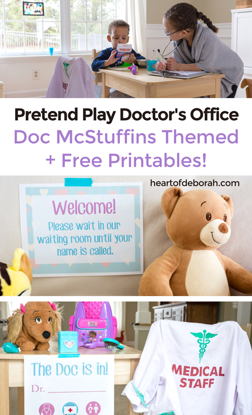 Preschoolers and young children love pretend play! Set up your own DIY pretend play doctor's office with these doctors printables. We used a Disney Junior Doc McStuffins theme and quickly set up our dramatic play center! #DocMcStuffins #Disney