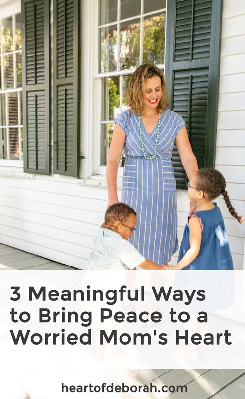 Anxiety is so hard especially when you become a parent. I found peace by going through these three easy steps. My worried mom's heart slowly disappeared and I experienced joy in parenthood instead of fear. #parenting #christianparenting #motherhood #encouragement #momlife