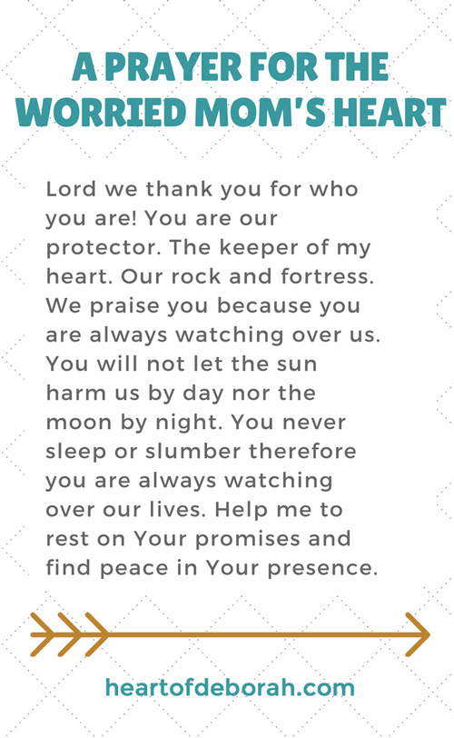 A prayer for a worried mom's heart. Find peace in parenting!