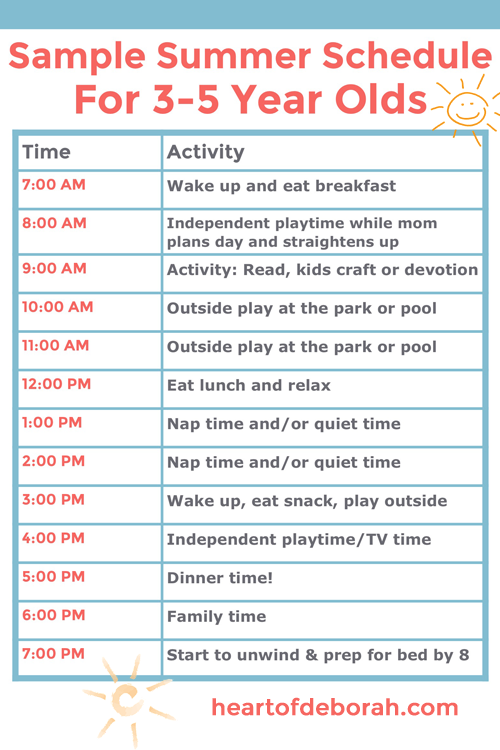 I've found if we have too much open time without structure we don't know what to do with ourselves. We won't do well if we have a completely unstructured summer. We like order and our family thrives on it. So we created this summer schedule for kids. Including free schedule to print! #summer #schedule #kids #summerfun #motherhood