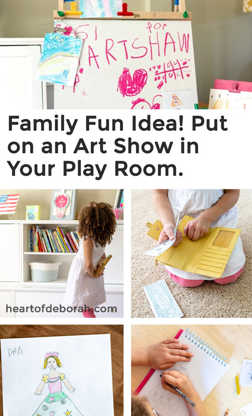 How cute is this! What a fun way to spend the night together. Celebrate art and make your own art gallery in your play room!! #pretendplay #familyfun #familybonding #artshow