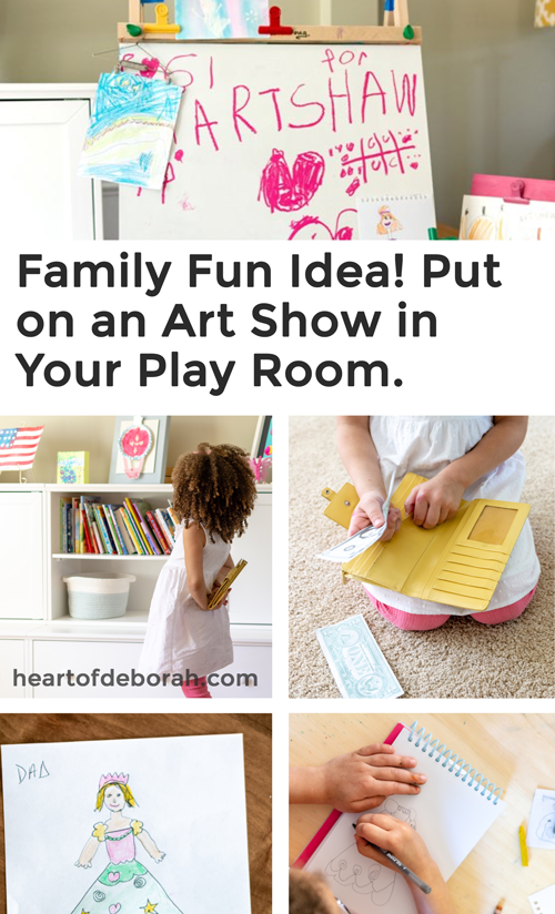 Turn your living room into an art show! It's such a fun dramatic play center to do with your preschooler.
