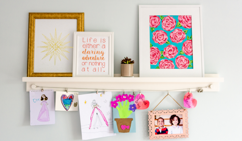 Looking for unique ways to display your children's art? Here are 7 beautiful ways to display kid's art in your house. Your kids will love seeing their work.