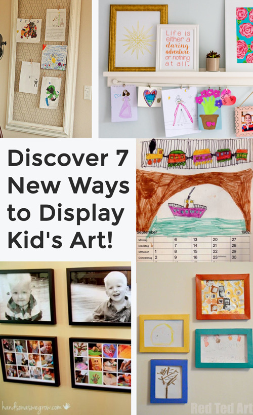 Looking for unique ways to display your children's art? Here are 7 beautiful ways to display kid's art in your house. Your kids will love seeing their work. #decor #kidsart #artdisplay #framedart