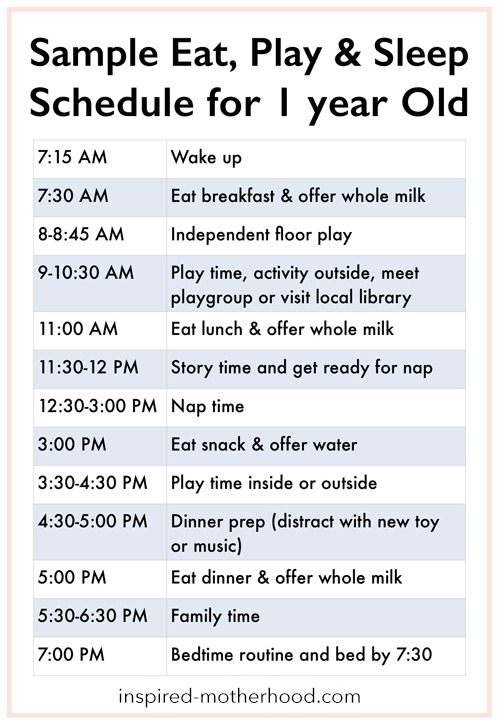 Every child is different, but it's nice to see a sample eat, play and sleep schedule to get an idea! Here is a sample baby schedule for one year old toddler.