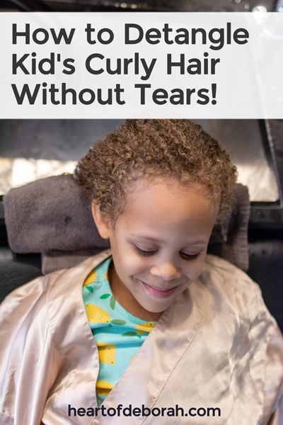 Learn how to detangle your child's curly hair without any tears! It is possible with these 4 tips.
