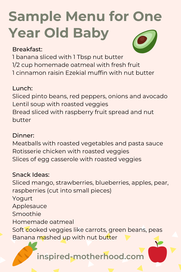 A great sample menu for one year old baby. Breakfast, lunch, dinner and snack ideas for a nutritious diet.