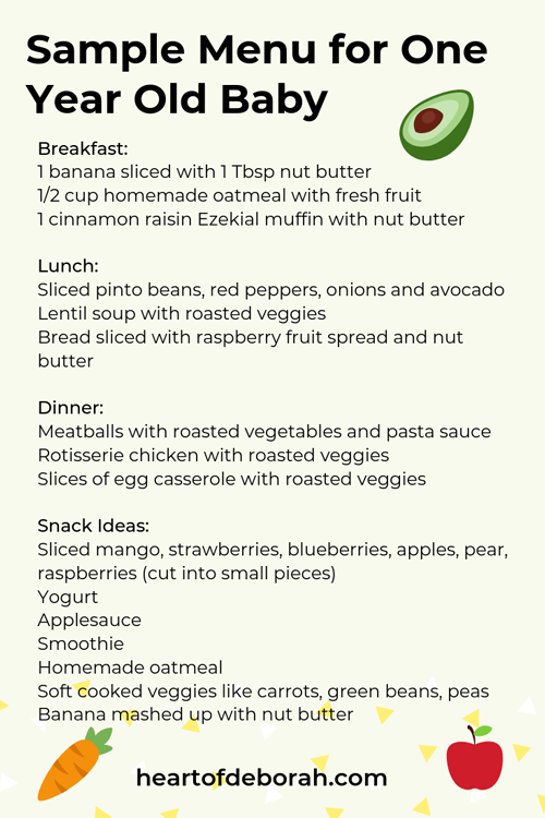 Sample Menu For One Year Old What Your Child Should Eat At Each Meal