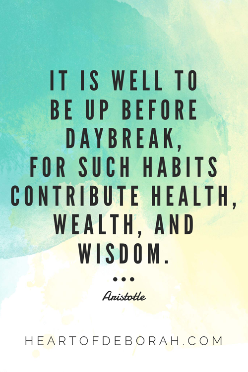 It is well to be up before daybreak, for such habits contribute health, wealth and wisdom. Aristotle quote.