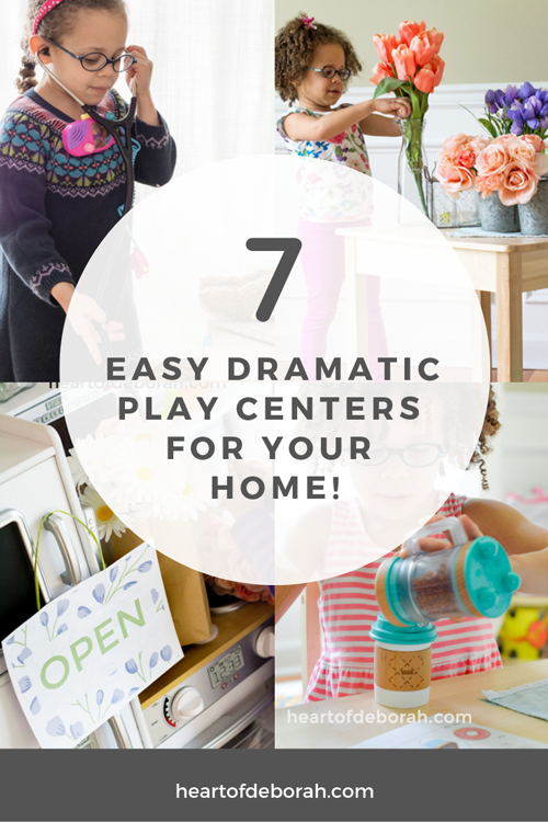 Kids learn through play! Her are 7 EASY dramatic play ideas so you can set up your own dramatic play center in your playroom at home.