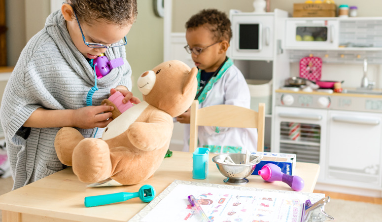 Looking to add to your children's toys? Try setting up dramatic play centers in your home. They will love it and learn from play.
