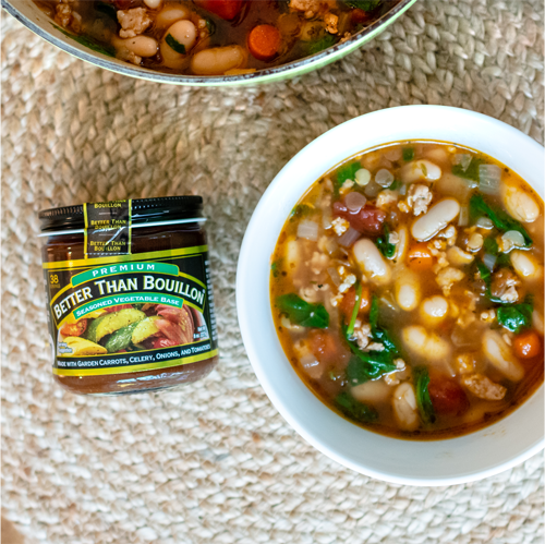 Delicious sausage and lentil soup recipe! Made with Better Than Bouillon which makes it so easy.