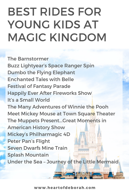 The best rides and shows at Disney World's Magic Kingdom for young kids! Preschoolers and toddlers will love these activities.