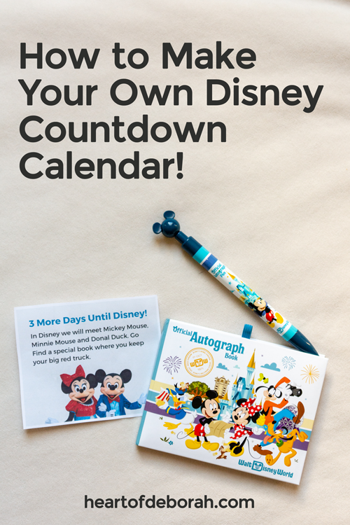 Make your own Disney countdown calendar to get excited for your vacation to Walt Disney World. Your young kids will love this!