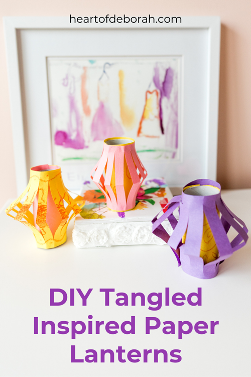 What a fun and easy kid's craft! Make your own paper lanterns in minutes. Our lanterns were inspired by Disney's Tangled!