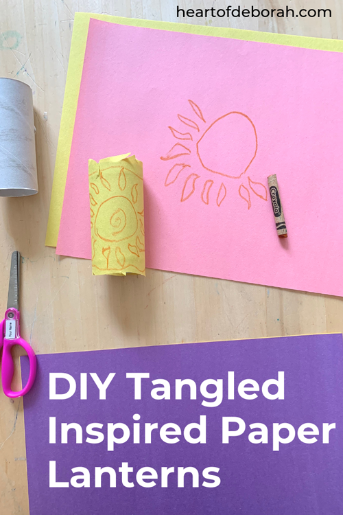 Inspired by our favorite Disney movie, Tangled, these DIY paper lanterns are such an easy kid's craft. Your children will love this simple activity with household items.