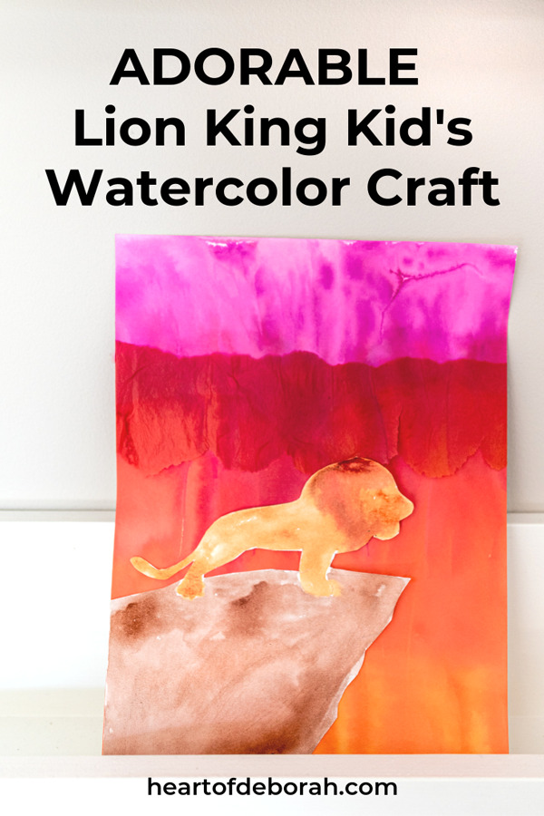 How cute is this Lion King kids craft!? This watercolor movie poster is so easy to make. Even young kids can make this craft easily! Inspired by Disney's The Lion King.