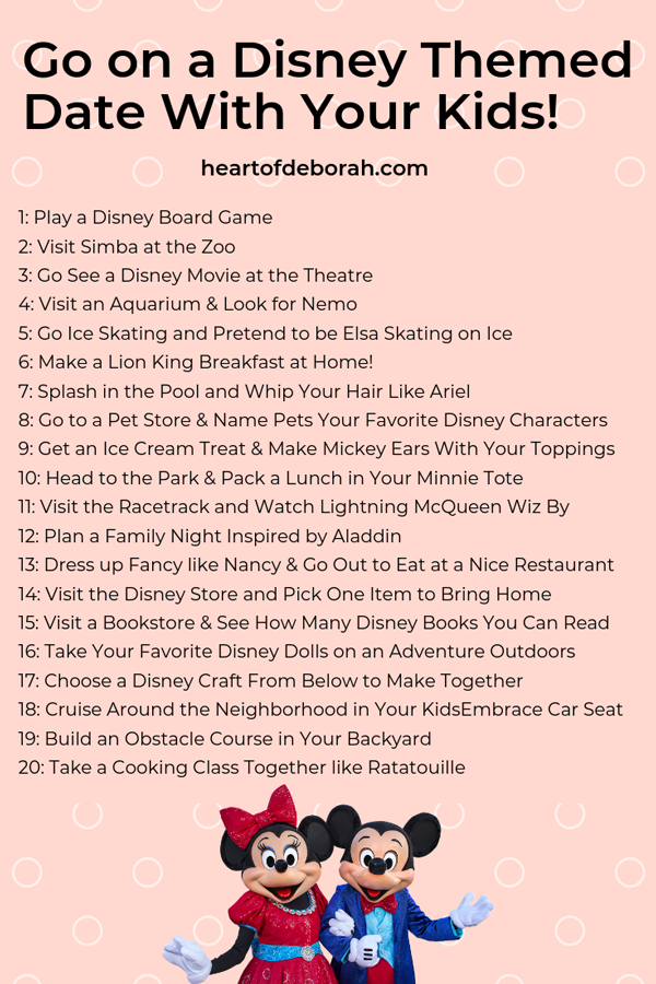 20+ Disney Inspired Kid Date Ideas! What a fun list of activities to do together with your kids. Plan a date night once a month.