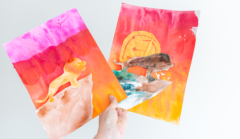 We love The Lion King movie so to celebrate the live action movie we decided to craft our own Lion King Kids Craft with tissue paper watercolor.