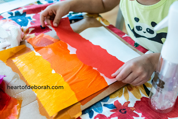 Tissue paper watercolor is so fun and easy! Your kids love will this activity.