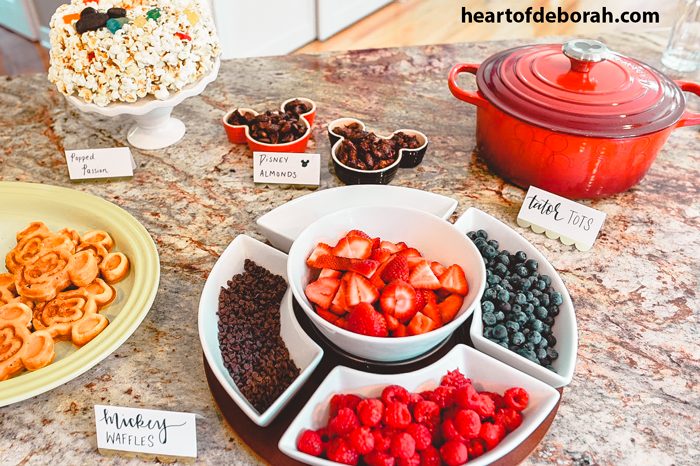 What a fun Mickey Mouse Waffle bar idea for a kid's birthday party!