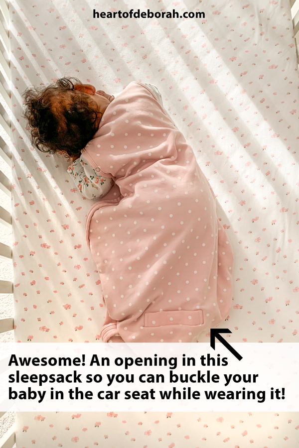 Genius idea! Keep your baby warm in their car seat by keeping the sleep sack on. This sleep sack comes with a buckle opening for your baby or toddler.
