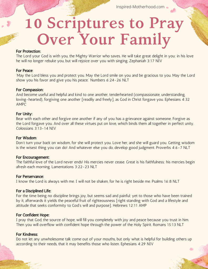 Free printable with scripture to pray over your family! Use this list of scripture to pray powerful prayers over your kids and husband.