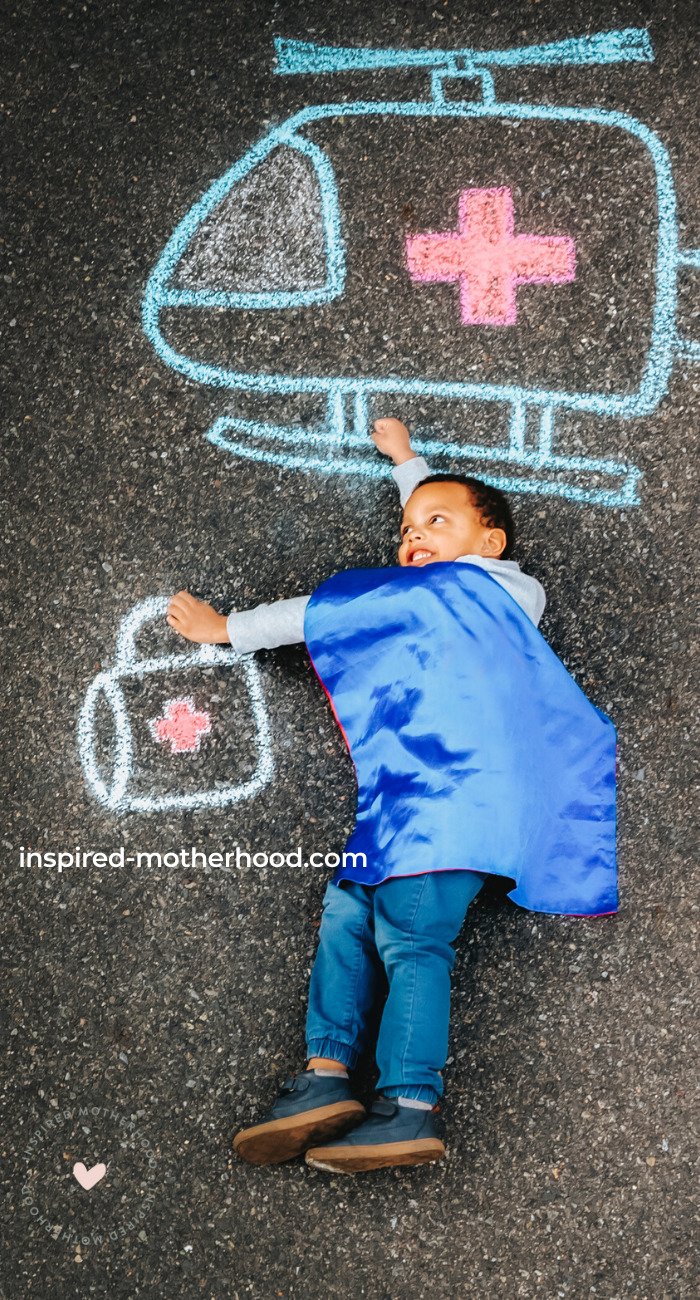Health care workers are superheroes! Here is a fun way to send messages of love and support to your favorite health care workers with chalk art.