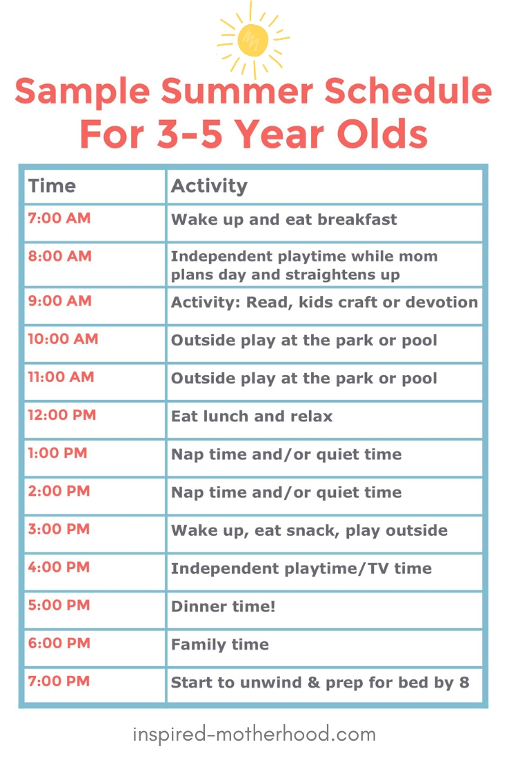 A GREAT sample summer schedule for young kids. I've found if we have too much open time without structure we don't know what to do with ourselves. We won't do well if we have a completely unstructured summer. We like order and our family thrives on it. So we created this summer schedule for kids. Including free schedule to print!
