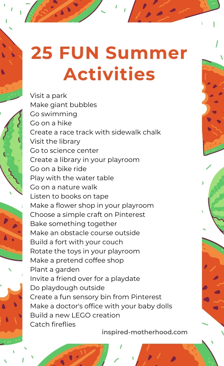 Here is a list of 25 EASY summer activities to add to your summer schedule for kids. Print it out to have a quick cheat sheet when the kids say I'm bored!
