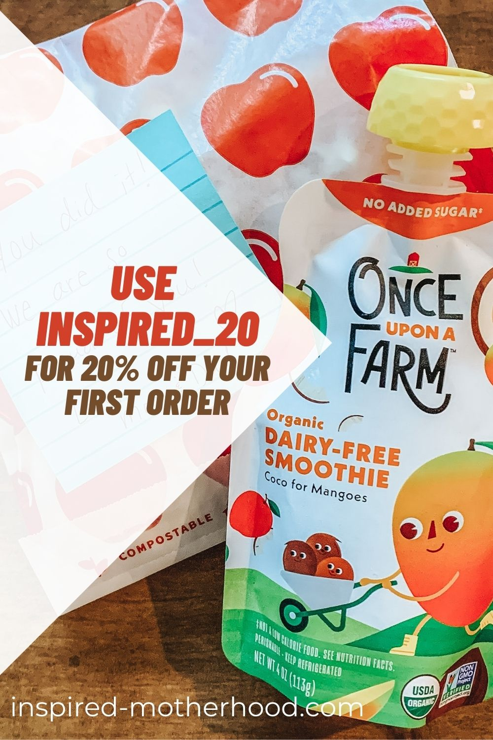 We love Once Upon a Farm for lunch box snacks and I have a special treat for you, if you use INSPIRED_20 you'll get 20% off your first subscription box.