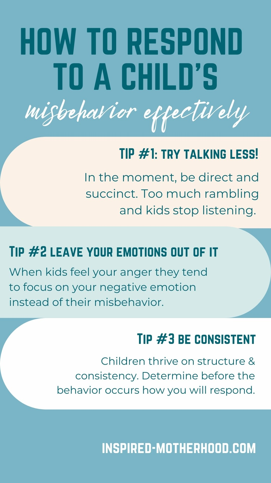 Looking for a more effective way to discipline? Try correcting misbehavior by using less words and counting to 3! Trust us, it works. Leave your emotions out of your parenting.